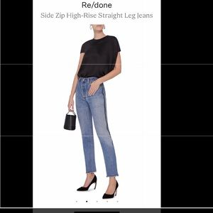 Re/done  side zip high-rise straight leg jeans
